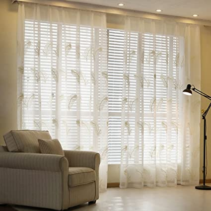 Amazon Com Auswind White Feather Pattern Grommet Top Sheer Curtain