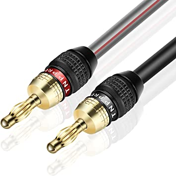 TNP Speaker Cable with Banana Plug Tips - High Count Strand 9 AWG  Electrical Speaker Wire Connector 9 Gauge Cord 9K Gold Plated & Corrosion