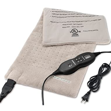 DONECO King Size XpressHeat Heating Pad (12 x 24 ) - Heat Therapy Helps Reduce Muscle Cramps and Soreness - Features 6 Temperature Settings and Adjustable LCD Controller - Machine Washable Microplush