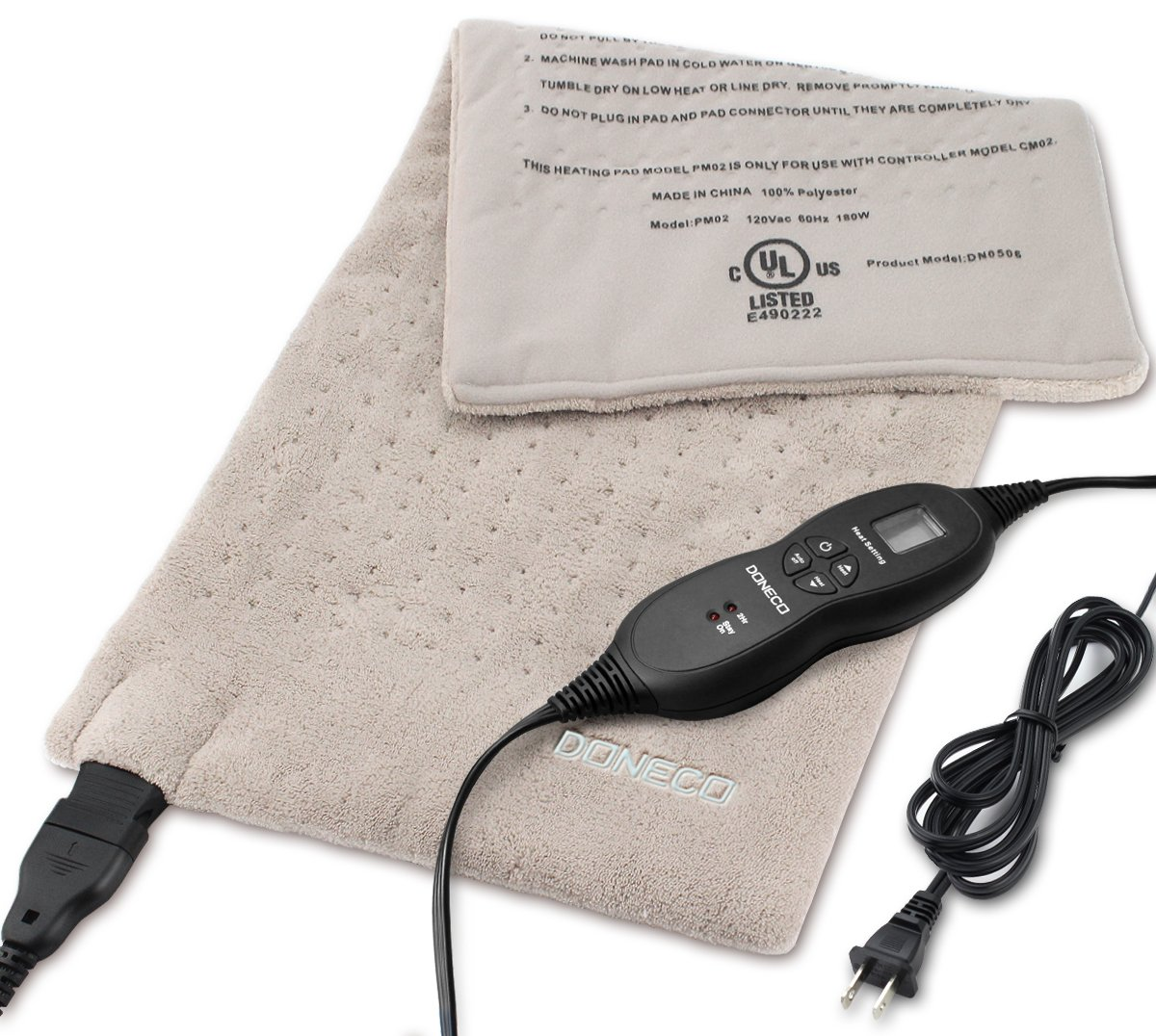 DONECO King Size XpressHeat Heating Pad (12 x 24) - Heat Therapy Helps Reduce Muscle Cramps and Soreness - Features 6 Temperature Settings and Adjustable LCD Controller - Machine Washable Microplush