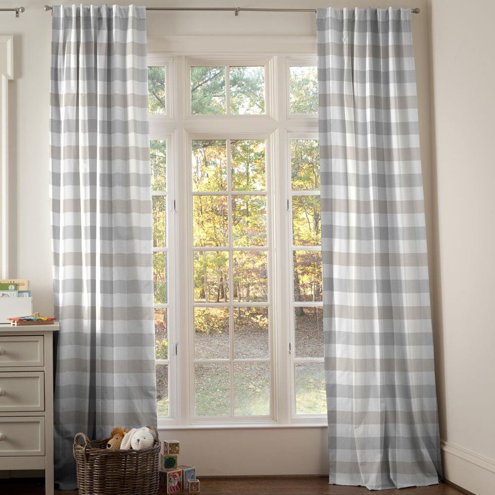 Carousel Designs Gray and Taupe Buffalo Check Drape Panel 96-Inch Length Standard Lining 42-Inch Width