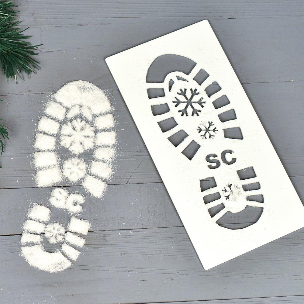 ORIGINAL MONKEY Santa Footprint Stencil Decor, Father Christmas Footprint Stencil INCLUDES SNOW, Home Accessories