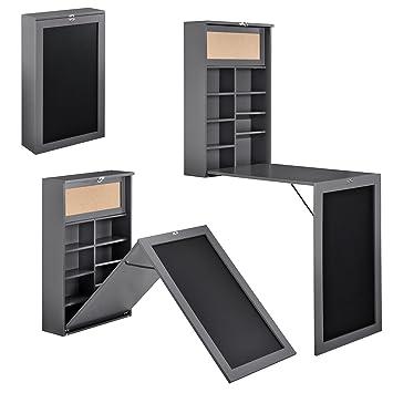 Wandklapptisch  en.casa] Moderner Wandklapptisch Schreibtisch in dunkelgrau MDF ...