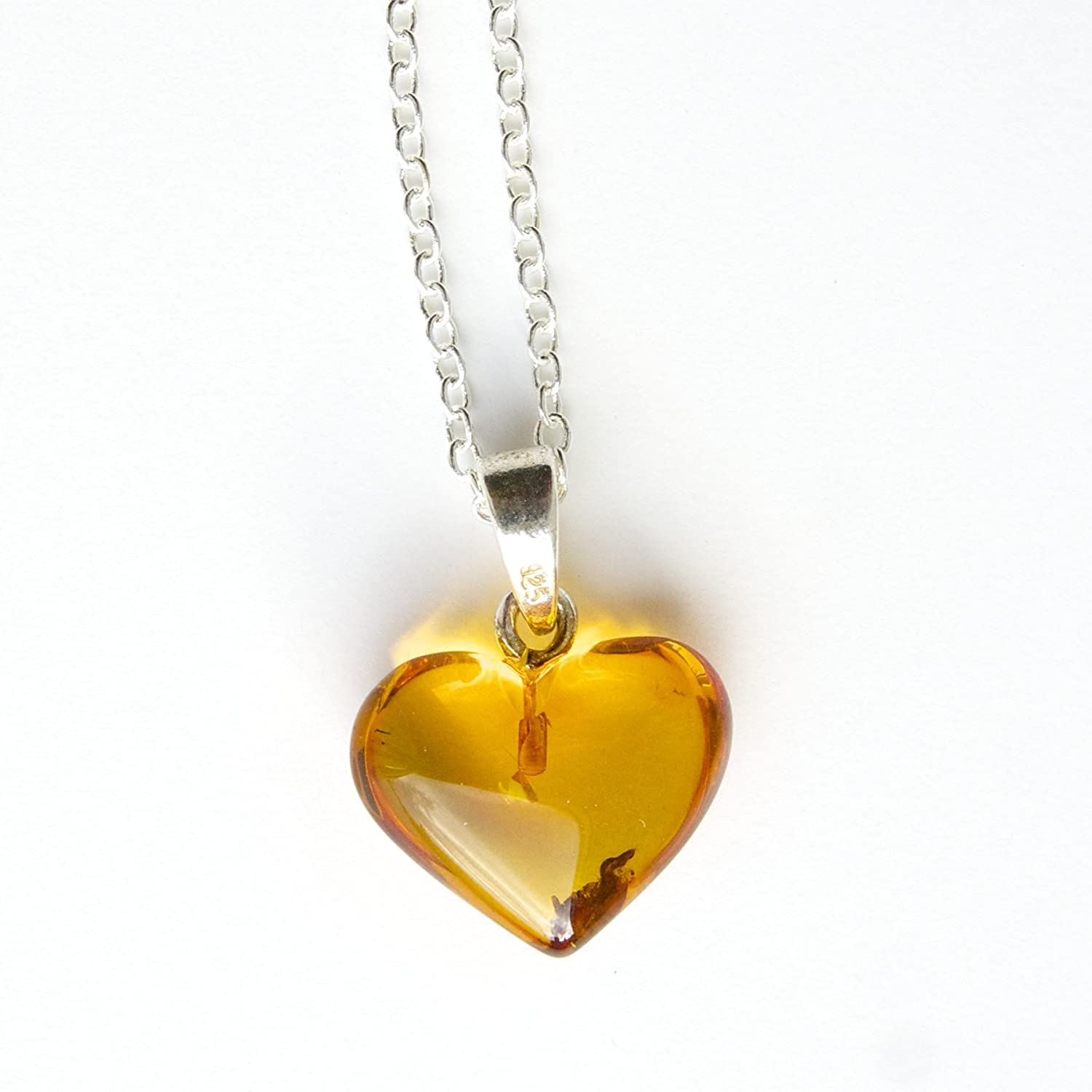 Sterling Silver 925 18 inch Chain Necklace with Amber Heart Pendant