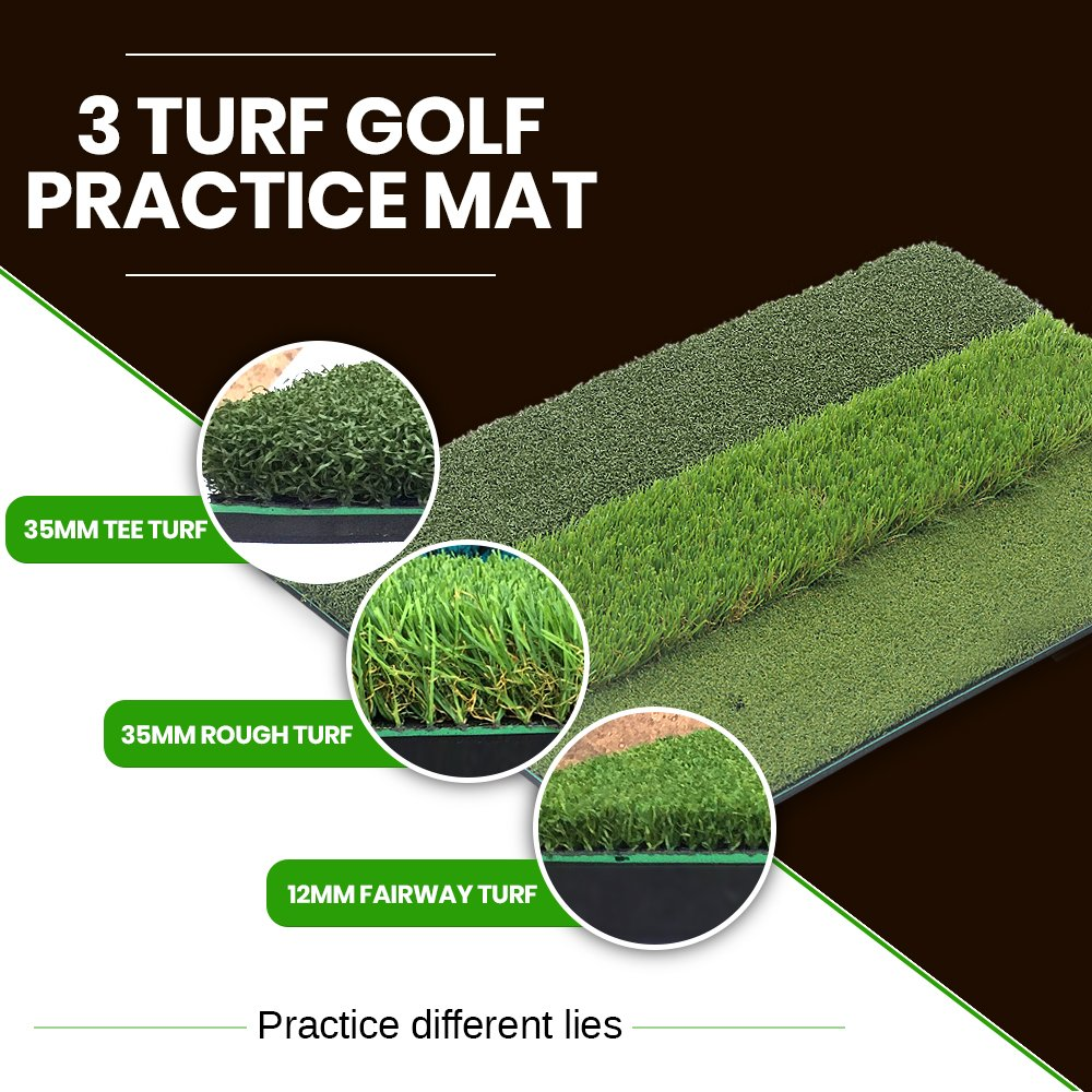 That ll Play – SBZ Golf PremiumTri-Turf Hitting Grass Mat – Rough Fairway, Portable, Training Mat – 16 x 25
