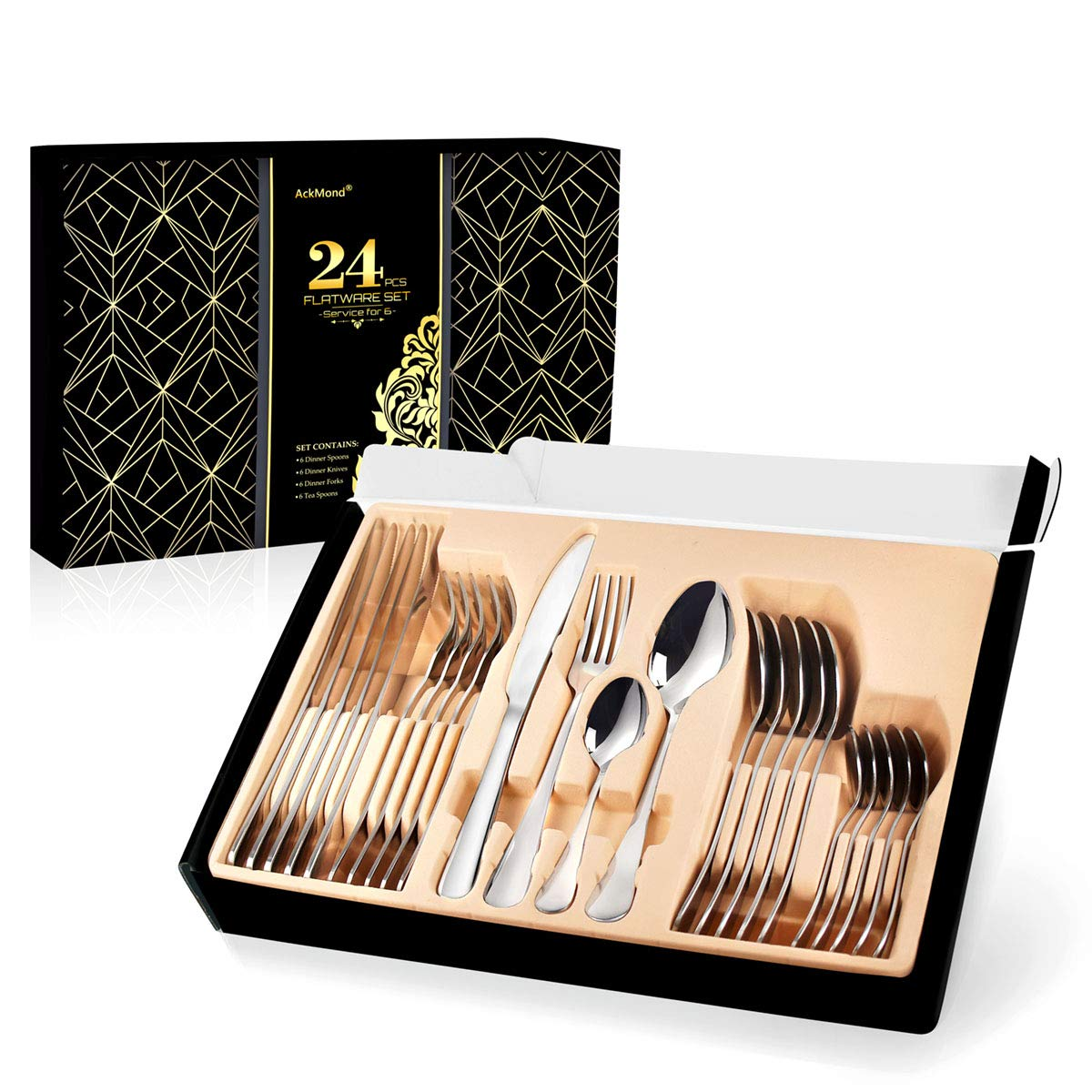 AckMond 24-piece Stainless-steel Cutlery Set Flatware Set Tableware Dinnerware Silverware knife fork spoon, with Gift Box Service for 6