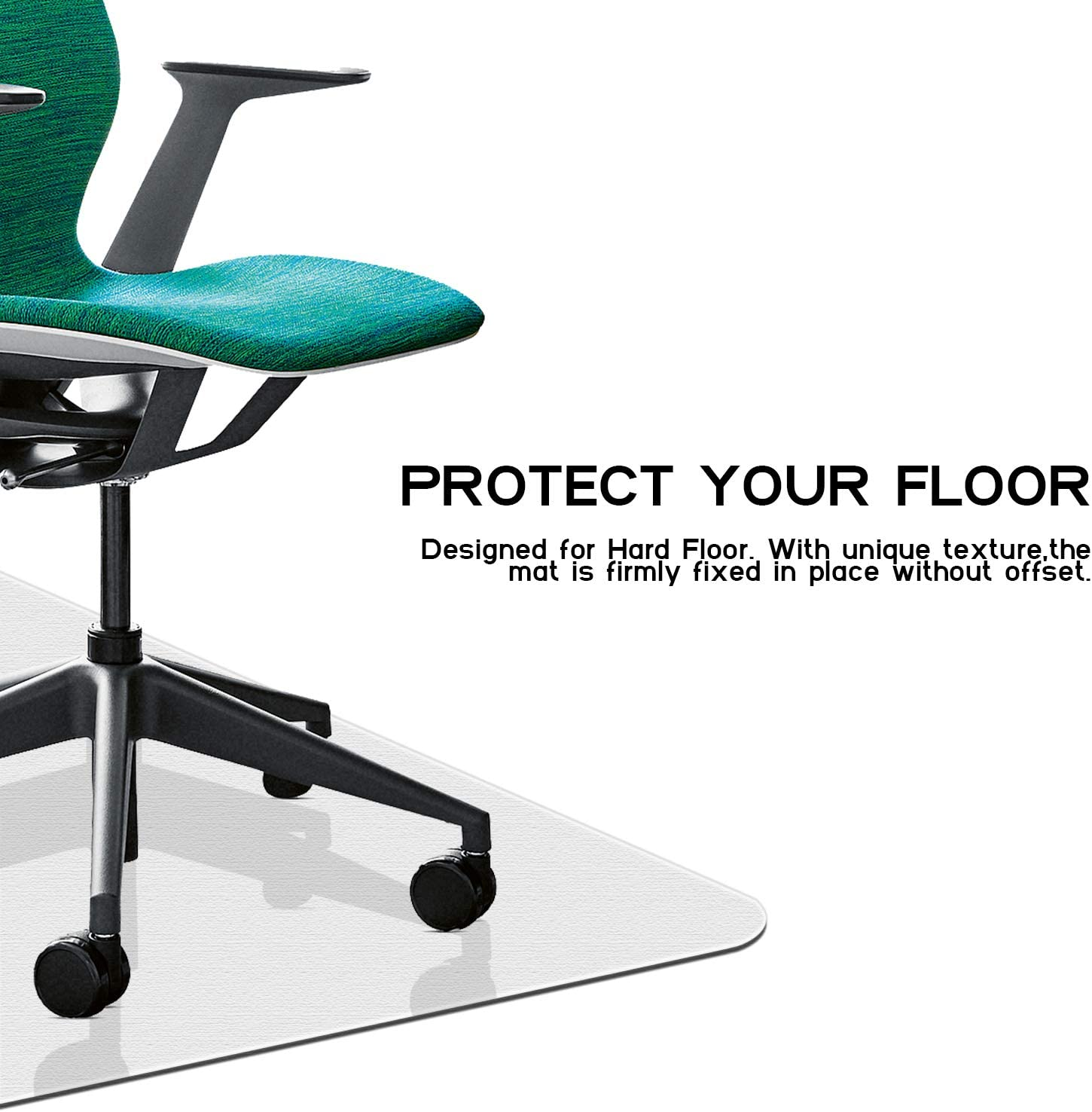 """HOKEKI Office Chair Mat for Hardwood Floor, 36"""" x 48'' with Lip Transparent Floor Mats for Rolling Chairs, Wood/Tile Protection Mat for Office & Home (36"""" x 48'') : Office Products"""