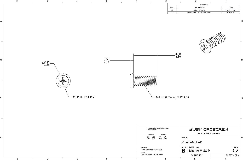 M1.6-0.35 X 4mm Machine Screw Stainless Steel Pan Head Phillips Drive M16-40-M-SS-P US Micro Screw 100 Pcs