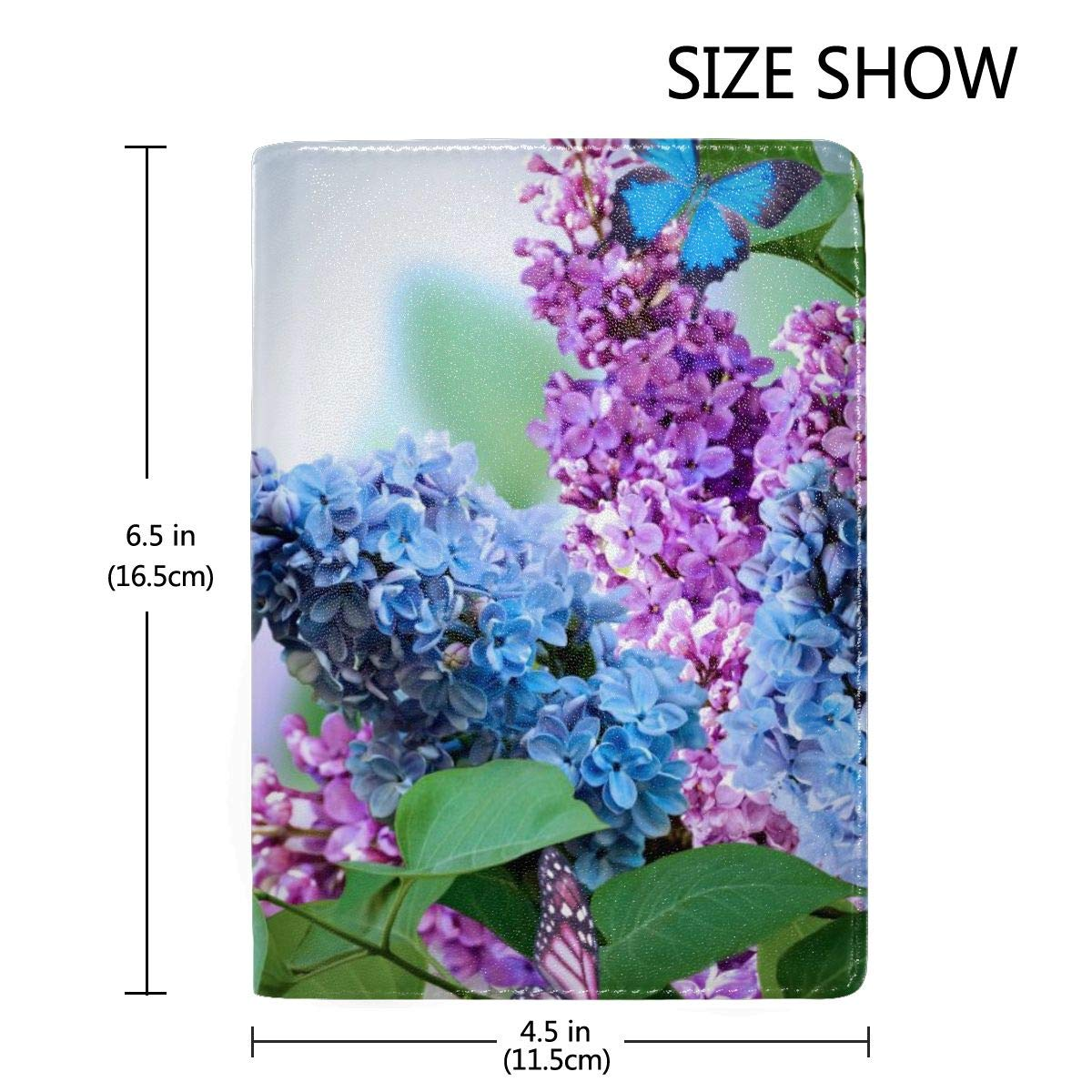 Lilac Flowers And Butterflies Fashion Leather Passport Holder Cover Case Travel Wallet 6.5 In