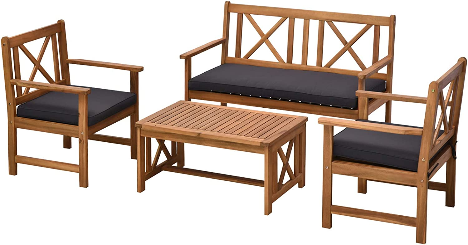 Outsunny 4 Piece Acacia Wood Outdoor Patio Furniture Set with 2 Armchairs, 1 Sofa, & 1 Coffee Table, Cushions Included