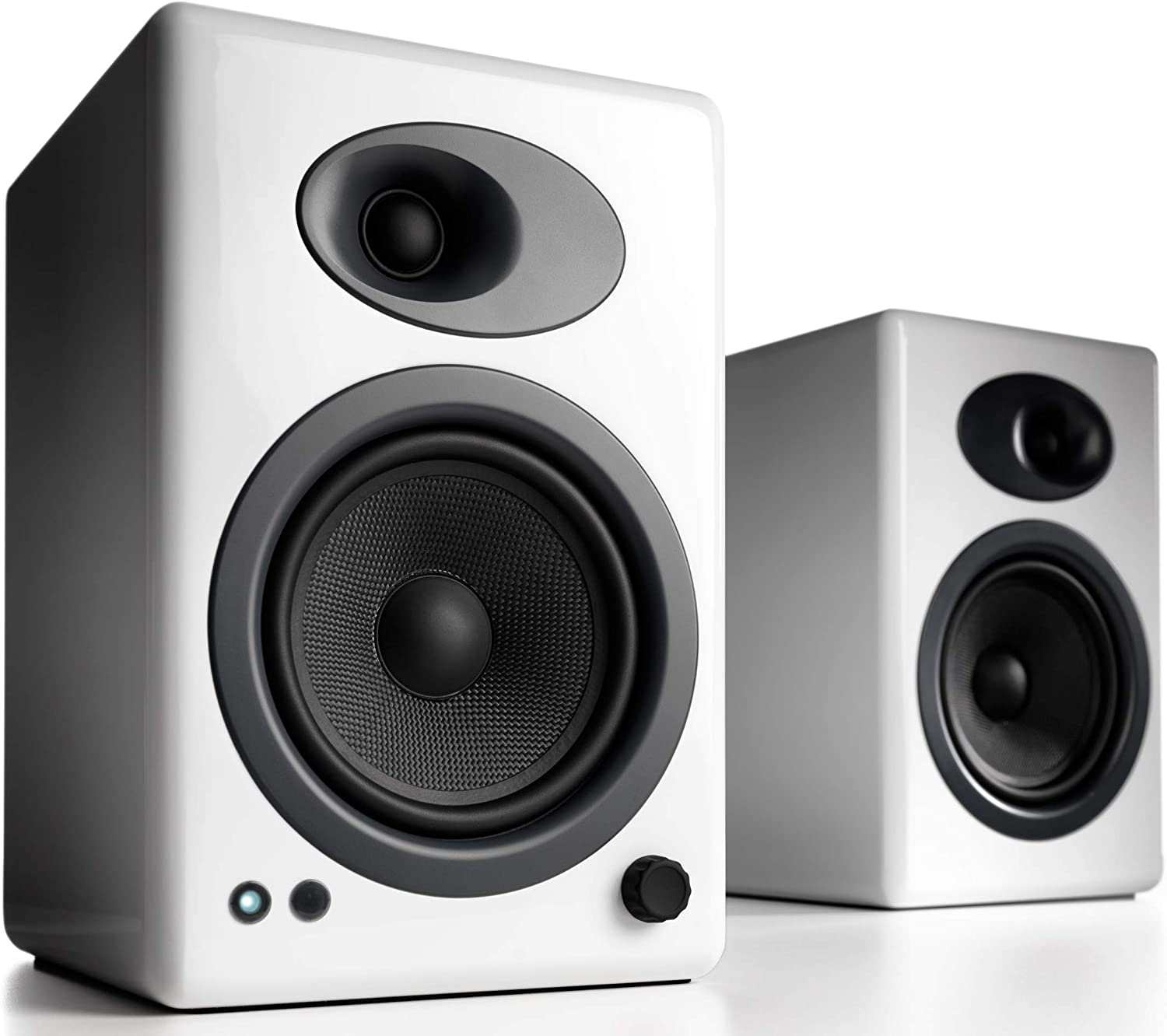 Audioengine A5 Plus Classic 150W Powered Bookshelf Speakers with Remote Control, Built-in Analog Amplifier (White)