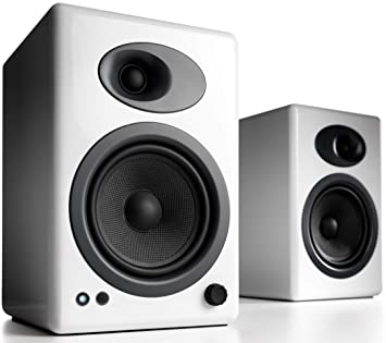 Audioengine A5 Plus Classic 150w Powered Bookshelf Speakers With Remote Control Built In Analog Amplifier White