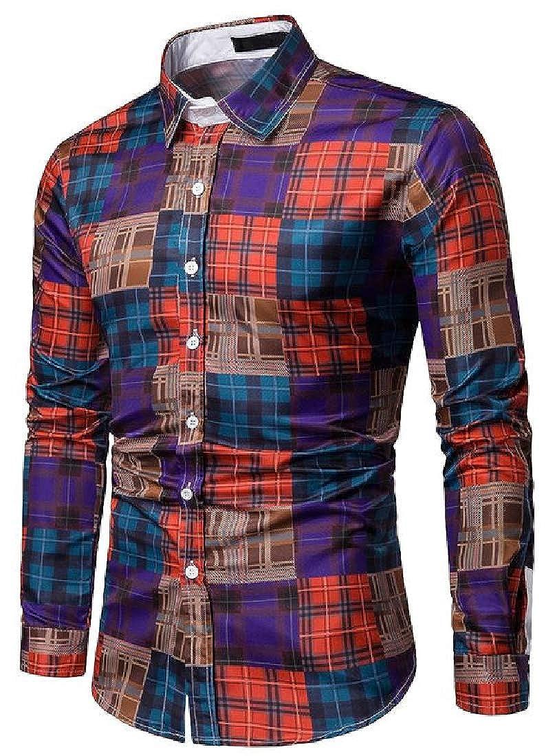 Sayah Mens Plaid Pattern Long-Sleeve Bussiness Color Block Spring//Fall Casual Shirt
