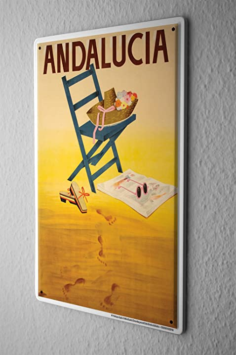 Amazon.com: Tin Sign World Trip Spain Andalusia chair hat sandals ...