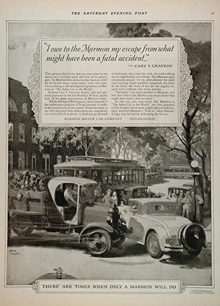 1926 Ad Marmon Car Accident Cary T. Grayson Washington - Original Print Ad