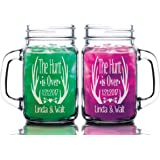 The Hunt is Over Personalized 16oz Mason Jar Set of 2 Custom Country Wedding Glass Mugs for His Her Bride Groom Gift for Custom Wedding Honeymoon First Anniversary Gift