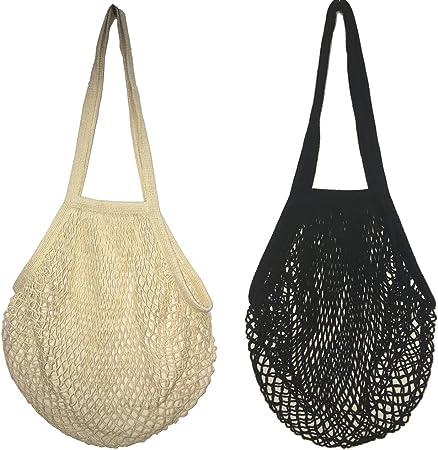 2 bolsas de malla de algodón lavable, para compra o como bolso de mano, portátiles, reutilizables, con asa larga para llevar al hombro, algodón, Black Beige, Large: Amazon.es: Hogar