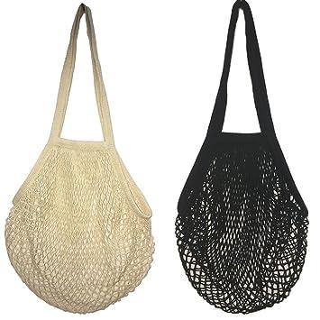 2 bolsas de malla de algodón lavable, para compra o como bolso de mano, portátiles, reutilizables, con asa larga para llevar al hombro, algodón, Black ...