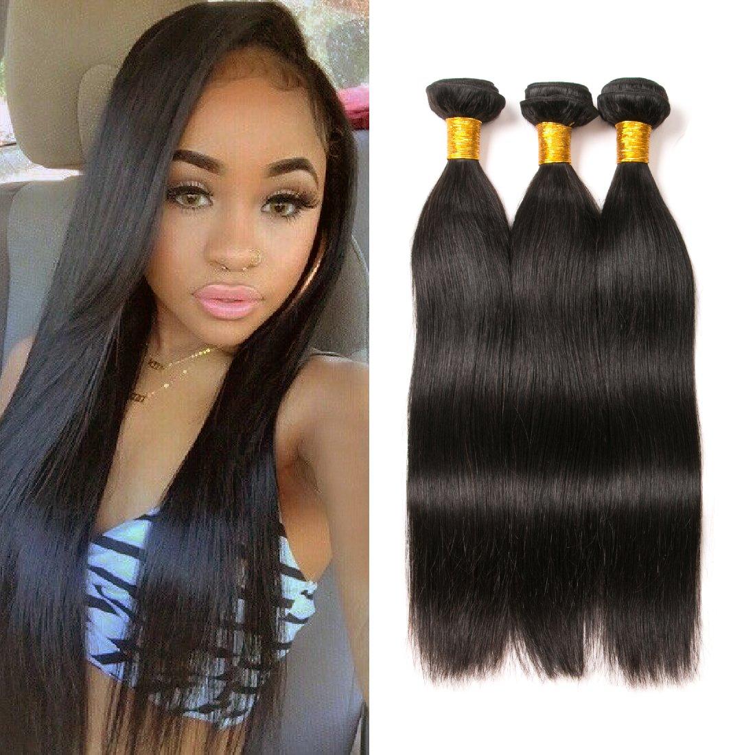 BrasilienIn gerade Haarbündel brasilianischen Jungfrau Haar gerade Bündel brasilianisches Haar 3 Bundles 100% menschliche Haarverlängerungen XTension gemischte Länge (16 16 16) Inch Natural Black Xuchangjiujiuji