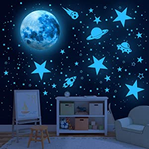 Glowing Stars for Ceiling, 1008 PCS Glow in The Dark Stars,Space Wall Decals Solar System Galaxy Planets Wall Stickers for Kids, Wall Decor for Gilrs Kids Bedroom Nursery Birthday Party Favor
