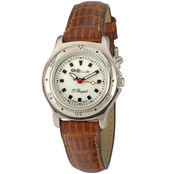 Peugeot para mujer brilla en la oscuridad correa de piel color marrón reloj: Amazon.es: Relojes