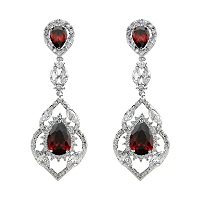 Amazon selovo silver tone vintage style teardrop chandelier selovo silver tone vintage style teardrop chandelier dangle earrings with red cubic zirconia aloadofball Image collections