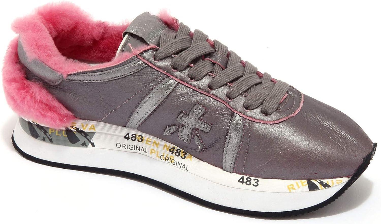 PREMIATA 6078AB Sneakers Donna Silver eco-Fur Inside Distressed Shoe Woman Argento Rosa