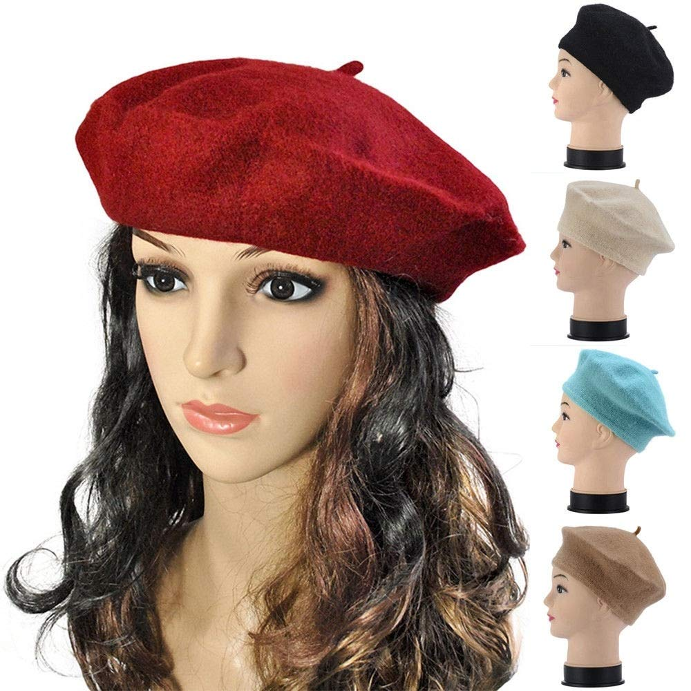 evelove Women Winter Warm Solid Plain Wool French Beret Hat Berets