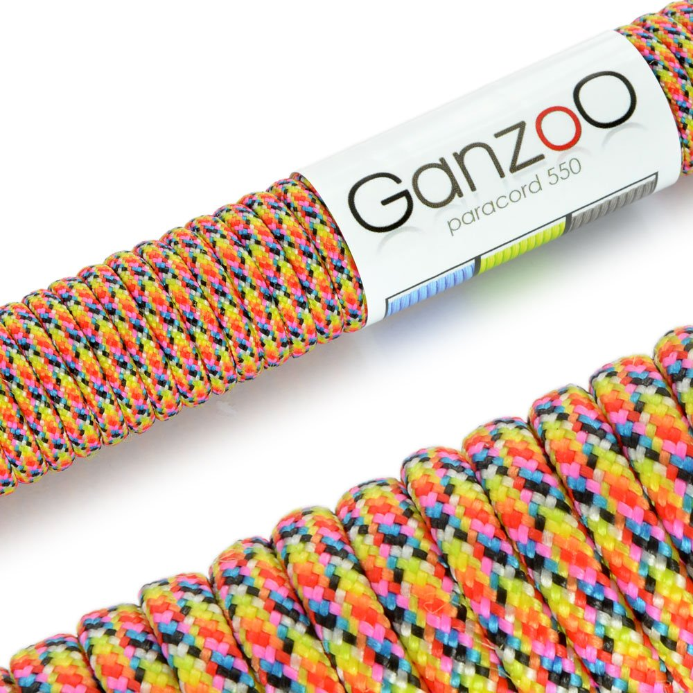 Ganzoo 'Universal Survival Rope Made of tear-resistant Parachute Cord/Paracord 550Core Rope Nylon, 550lbs, Total Length 31Meters (100ft) Yellow/Blue/Black/Pink/Red/Grey/Green/Orange
