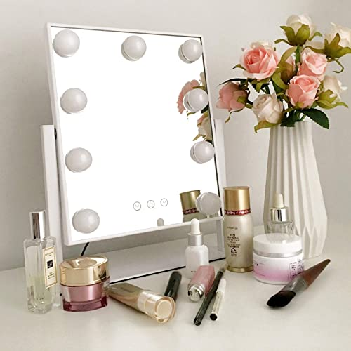 Moon Moon Hollywood Vanity Mirror with Lights Professional Makeup Mirror Lighted Vanity Makeup Table Set with Smart Touch Adjustable LED Lights, White Vanity Mirror Small, White