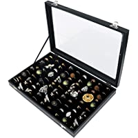 Ring Storage Display Box with Transparent Lid ~ Earring Holder Showcase ~ Jewelry Tray Organizer (Black)