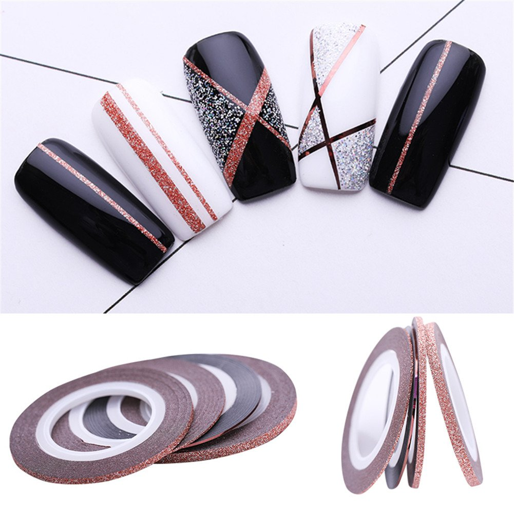 NICOLE DIARY Rose Gold Nail Striping Tape Line Matte Effect Glitter Mirror Surface 1mm 2mm 3mm Adhesive Transfer Stickers Styling Strips for Nail Decorations DIY Decal Tools(4 Pcs)