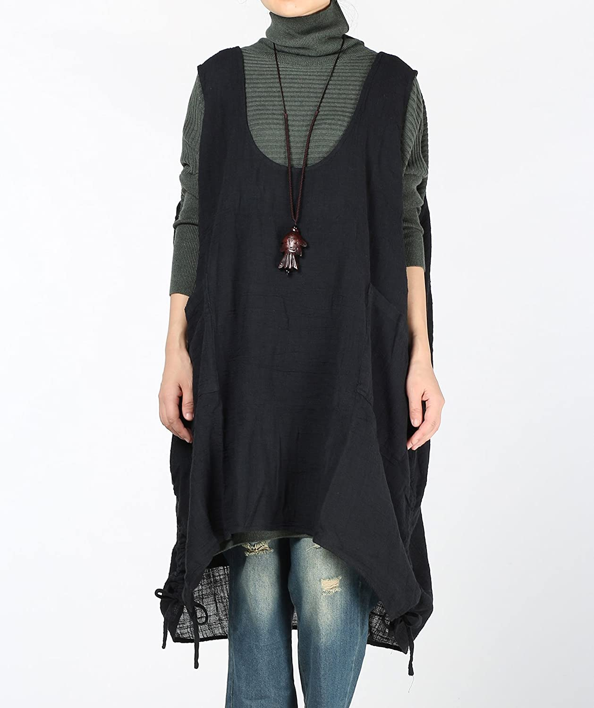 691e4d5a076 Mordenmiss Women s Autumn Vest Dress Pull-Up Hem Linen Top Pockets at  Amazon Women s Clothing store