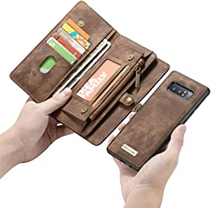 Esing Folio Zipper Purse Leather Wallet Cover Cases Compatible for Samsung Galaxy Note 8 Detachable Case with Flip Credit Card Slots Holder (Coffee)