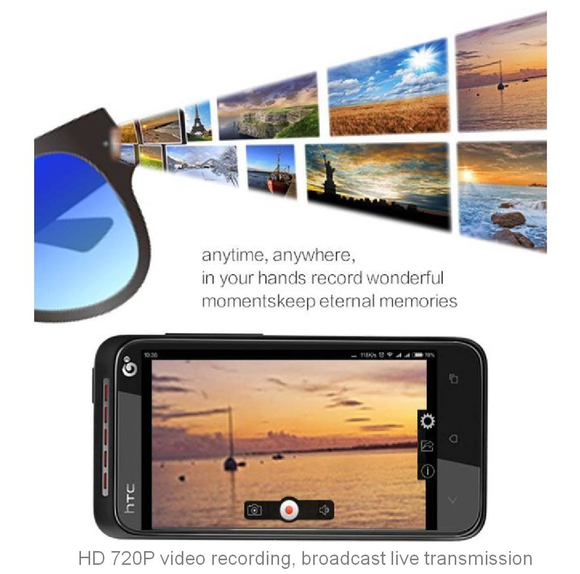 G30.Medium -WIFI Live- Video Camera Glasses HD 720P (64GB Max/ 16GB Included) ''Touch it -Free Your Hands'' -- Outdoor / Training / Teaching / Kids / Pets - ''Live Show'' (Android / IOS)