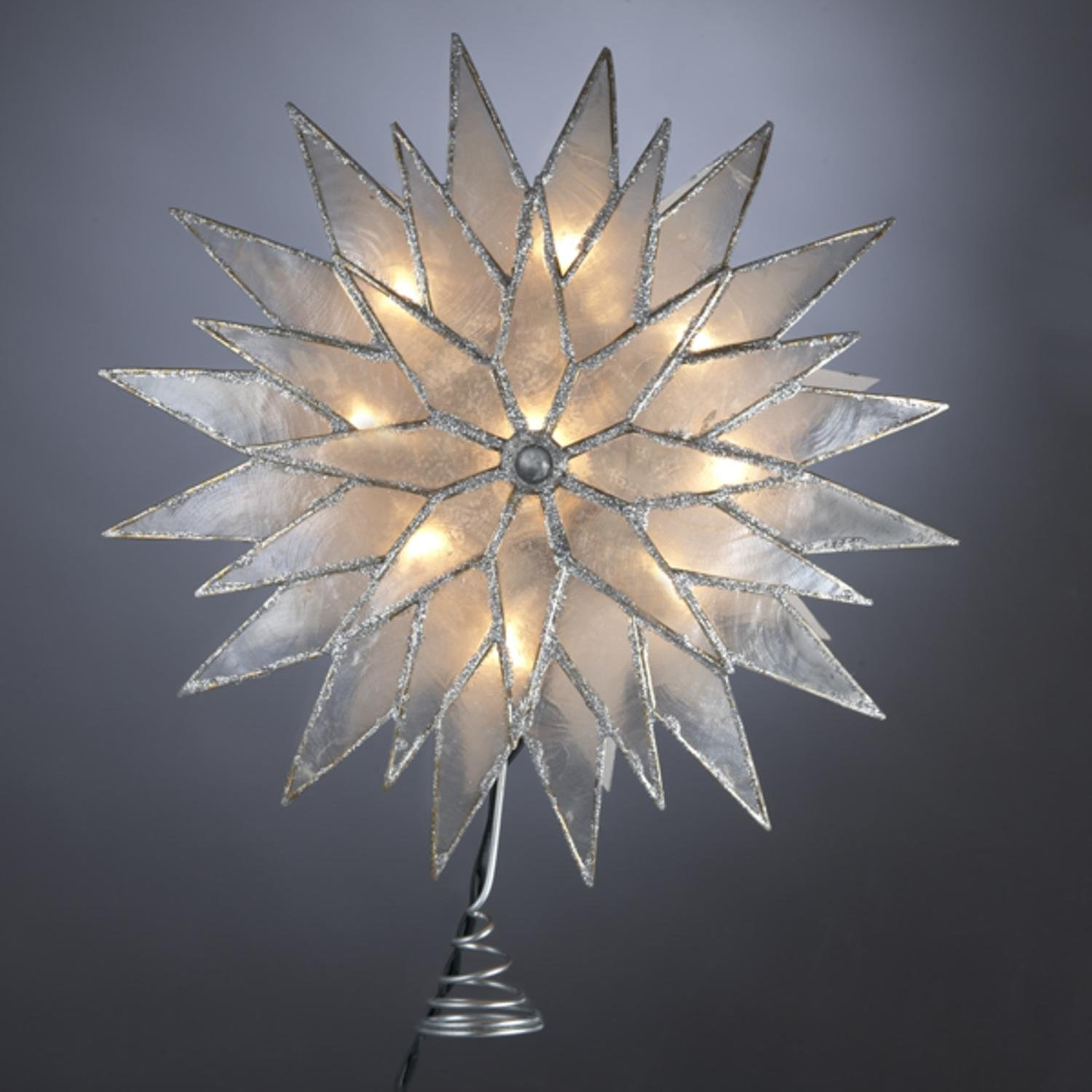 Kurt Adler 9'' Lighted Capiz Silver Sunburst Star Christmas Tree Topper - Clear Lights