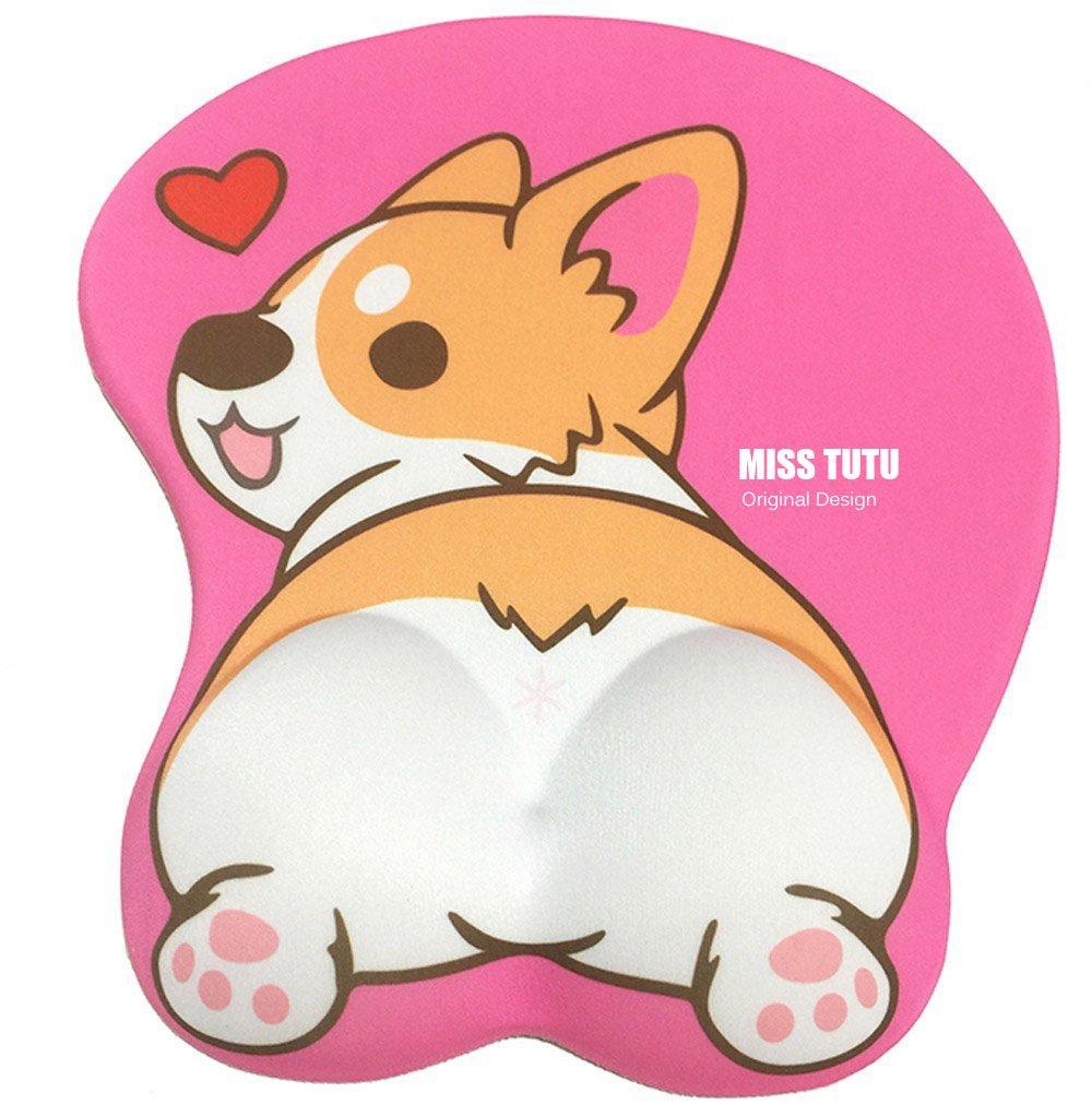 3D Cartoon Husky//Corgi Shape Silicone Mouse Pad Mouse Mat