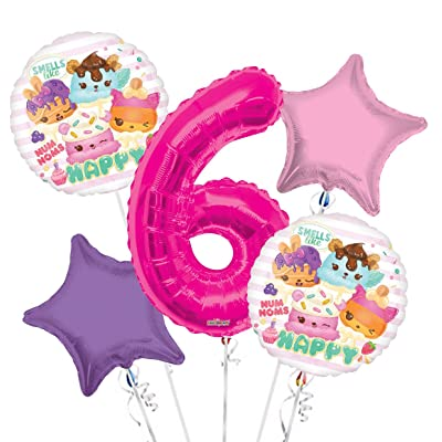 Num Noms Balloon Bouquet 6th Birthday 5 pcs - Party Supplies: Health & Personal Care