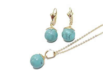 28a538043e5d Amazon.com  Turquoise 12 mm Ball Necklace and Earrings Set 18k Gold ...