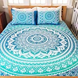 Vedant Designs Exclusive Full Size Ombre Mandala DUVET COVER WITH PILLOWCASES By, Indian Duvet Doona Cover Boho Bedding Set Blanket (Full, Green)