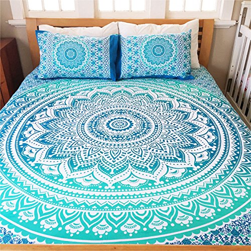 Vedant Designs Exclusive Full Size Ombre Mandala DUVET COVER WITH PILLOWCASES By, Indian Duvet Doona Cover Boho Bedding Set Blanket (Full, Green)