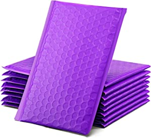 GSSUSA Purple Poly Bubble Mailers 4x8 Padded Envelopes #000 Shipping Envelopes Bubble Mailers Self Sealing Padded Envelope 50Pack