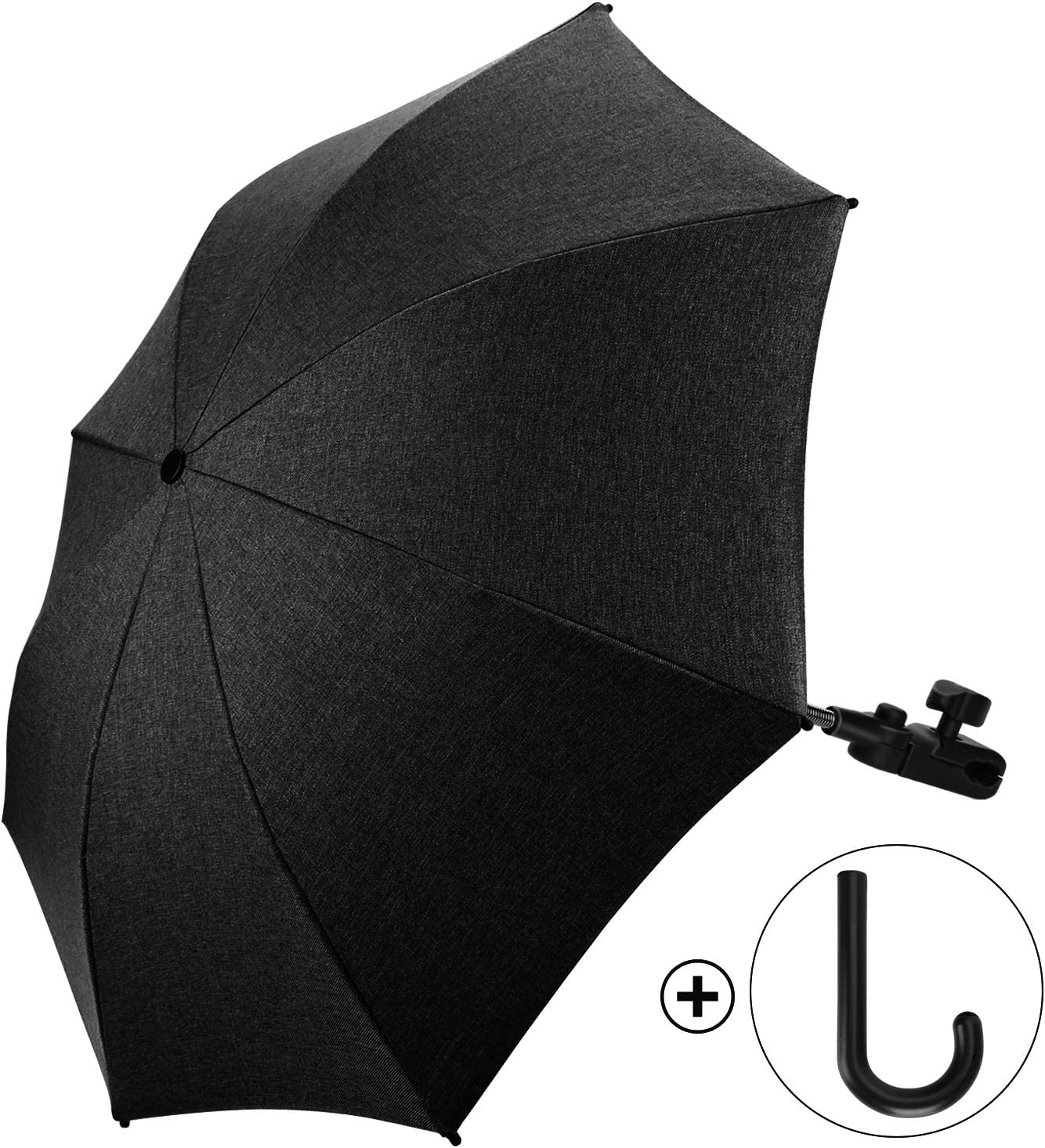 Negro Sombrilla Carrito Bebe Universal Paraguas Carrito Bebe Di/ámetro 73cm Anti Rayos UV 50 con Un Mango de Paraguas