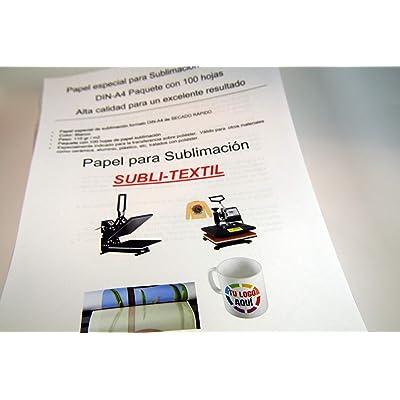 CartuchoRecargable - Papel de Sublimación Ideal para Tazas (100 Hojas) A4, Blanco: Oficina y papelería