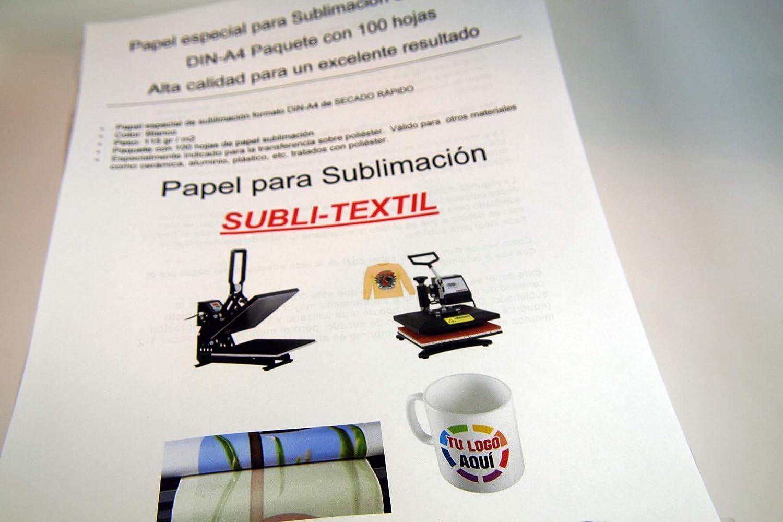 A4 Papel de Sublimaci/ón Ideal para Tazas Blanco 100 Hojas CartuchoRecargable