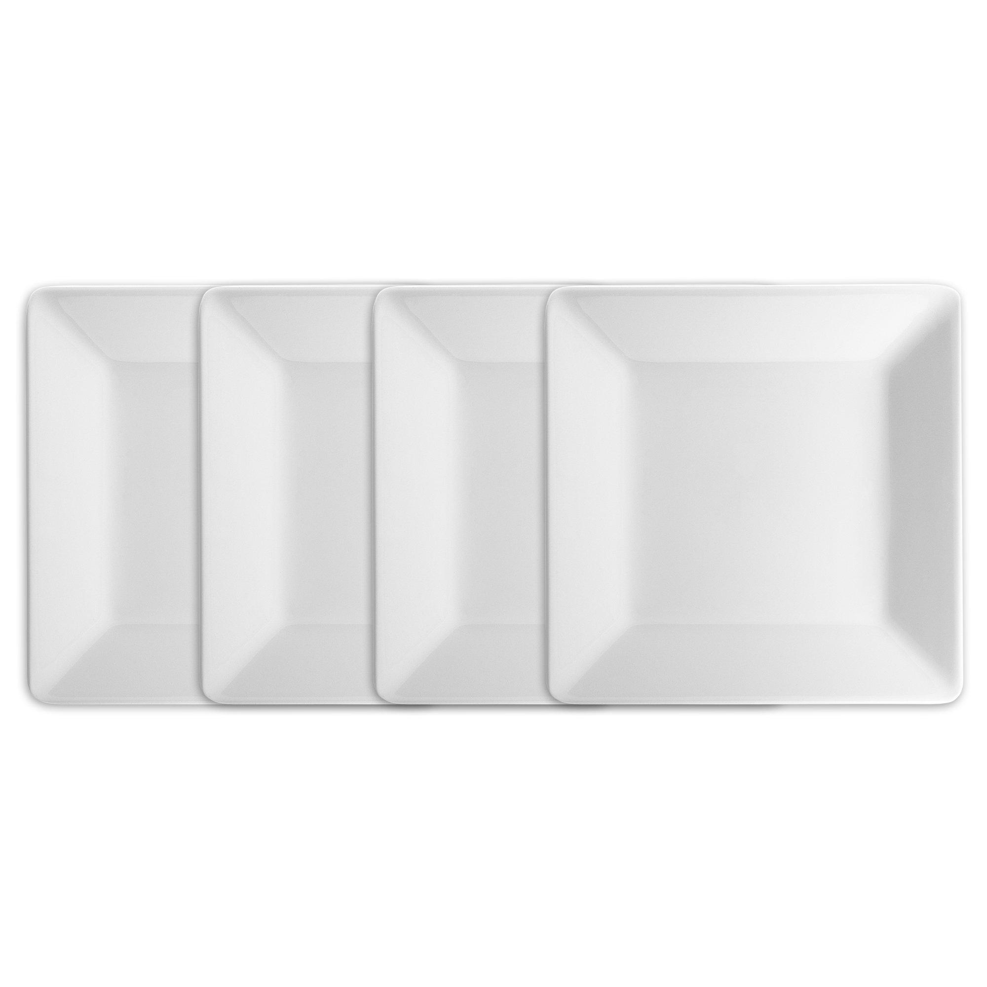 Q Squared Diamond White BPA-Free Melamine Salad Plate, 7-1/4 Inches, Set of 4, White