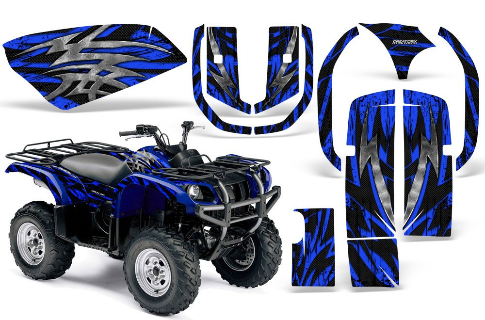CreatorX Yamaha Grizzly 660 Graphics Kit Decals Stickers Bolt Thrower Blue