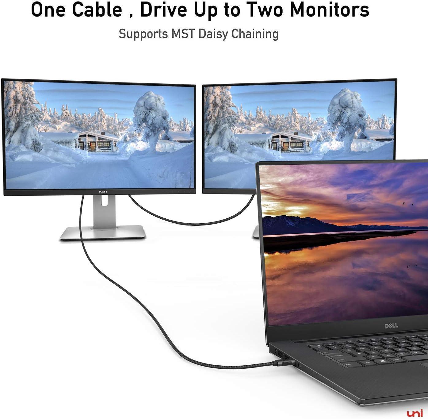 Gray XPS 15 USB C to DisplayPort Cable 3ft MacBook Air//iPad Pro 2018 4K@60Hz, 2K@165Hz uni Thunderbolt 3 to DisplayPort Cable Compatible for MacBook Pro 2019//2018//2017 Surface Book 2