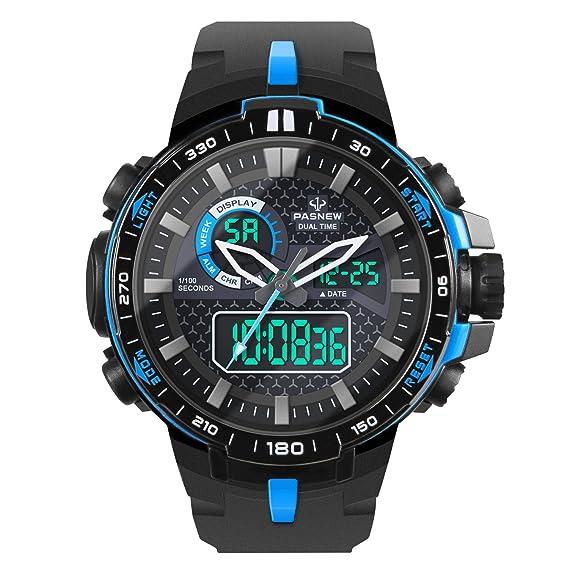 Hiwatch Reloj Deportivo para los Hombres al Aire Libre Impermeable Reloj Digital de Cuarzo Militar Dato Multifuncional LED Alarma Compana Cronómetro: ...