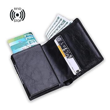 sciuU Cartera de Cuero de PU, Bloqueo RFID, Cartera con Tarjeta de Crédito (